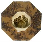 P365 - Two Brown Rabbits  Decoupage Plate