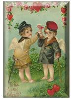 PW1737 - To My Valentine Toast Antique Postcard Paperweight