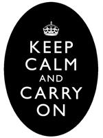 PW1763-Keep Calm And Carry On Black Oval Flat Paperweight