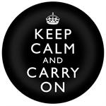PW1763-Keep Calm And Carry On Black Paperweight