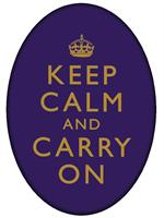 PW1767-Keep Calm And Carry On Gold on Purple Oval Flat Paperweight