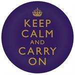 PW1767-Keep Calm And Carry On Gold on Purple Paperweight