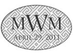 PW2654-Grey and White Fret Monogrammed Paperweight