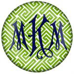PW2678 - Lime and White Fret Monogrammed Paperweight