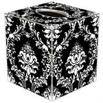 TB1275 - White on Black Damask Tissue Box Cover