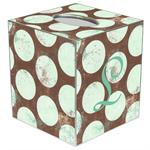 TB1508-Distressed Sea Foam Dots Tissue Box Cover