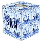 TB1523-Delft Blue Sailboat Tissue Box Cover