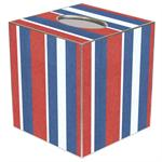 TB1580-Cabana Stripe Red & Blue Tissue Box Cover