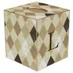 TB1598-Tan Argyle Tissue Box Cover