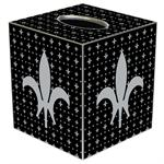 TB1732-Silver & Black Large Fleur de Lis Tissue Box Cover
