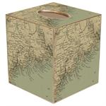 TB1819- Maine Coast Antique Map Tissue Box Cover