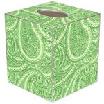 TB2635 - Creme And Green Paisley Tissue Box Cover
