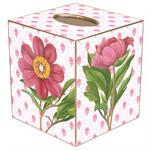 TB347 - Pink Peony on Provencial Print Tissue Box Cover