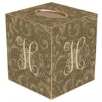TB361-Taupe Damask Tissue Box Cover