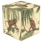 TB366-Monkey & Palms on Ivory Tissue Box Cover