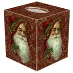 TB388 - Santa Face on Red Damask Tissue Box Cover