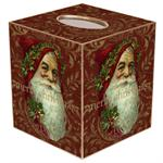 TB388-Merry Christmas on Red Damask Tissue Box Cover