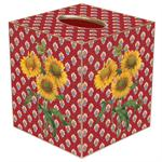 TB400-Sunflowers on Red Provencial Print Tissue Box Cover