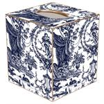 TB435-Navy Toile Tissue Box Cover