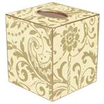 TB451-Creme and Gold Damask Tissue Box Cover