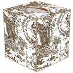 TB454 - Brown & White Toile Tissue Box Cover