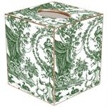 TB455 - Hunter Green Toile Tissue Box Cover