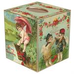 TB463-Antique Postcards Tissue Box Cover