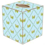 TB465-Aqua Butterfly Tissue Box Cover
