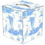 TB548 - Blue Boat Toile Tissue Box Cover