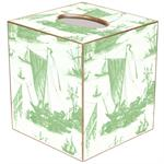 TB549 - Sage  Boat Toile Tissue Box Cover