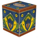 TB556-Talavera Blue & Yellow Tile Tissue Box Cover