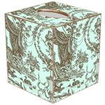 TB543 - Aqua & Brown Toile Tissue Box Cover