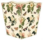 WB1118-Floral 1 on Ivory Wastepaper Basket