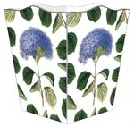 WB1207-Blue Hydrangea with Leaves Wastepaper Basket