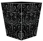 WB1532 - Black and Silver Damask Wastepaper Basket