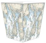 WB1709-Newport Nautical Chart Wastepaper Basket