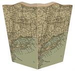 WB1821 - Long Island Antique Map Wastepaper Basket