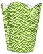 WB2678 - Lime & White Fret Pattern Wastepaper Basket