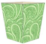 WB2635 - Creme and Green Paisley Wastepaper Basket