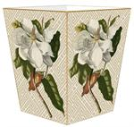 WB2688 - Magnolia on Tan & White Fret Wastepaper Basket