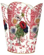 WB276-Anemones on Red Toile Wastepaper Basket