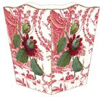WB277-Red Flower on Toile Wastepaper Basket