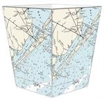 WB2895 - Galveston Nautical Chart Wastepaper Basket