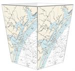WB2897 - Rockport Texas Nautical Chart Wastepaper Basket
