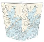 WB2899 - Galveston Bay Nautical Chart Wastepaper Basket