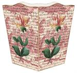 WB297-Pink & White Flower on Rose Toile Wastepaper Basket