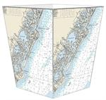 WB2970-Avalon & Stone Harbor, New Jersey Nautical Chart Wastepaper Basket