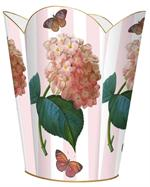 WB542-Pink Hydrangea on Stripes Wastepaper Basket