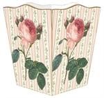 WB808-Pink Rose on Floral Stripe Wastepaper Basket