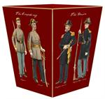 WB1868-Civil War Soldiers on Red Wastepaper Basket